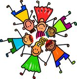 Group of Happy Kids. Whimsical cartoon illustration of a group of happy and diverse children holding hands Stock Images