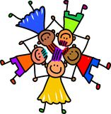 Group of Happy Kids. Whimsical cartoon illustration of a group of happy and diverse children holding hands Royalty Free Stock Images
