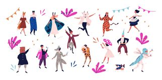 Group of happy men and women dressed in festive costumes for masquerade, carnival, party, holiday celebration isolated. On white background. Colorful vector stock illustration