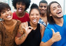 Group of happy multi ethnic hipster people have a party in city Royalty Free Stock Image