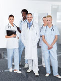 Group Of Happy Multiracial Doctors. Portrait Of Successful Multiracial Doctors In Clinic Royalty Free Stock Photography