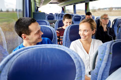Group of happy passengers in travel bus Royalty Free Stock Image