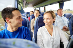 Group of happy passengers in travel bus Royalty Free Stock Photos