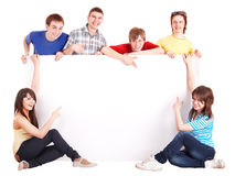 Group of happy people with banner. royalty free stock photos