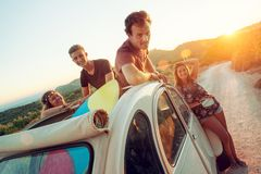 Happy group on vacations Royalty Free Stock Photo