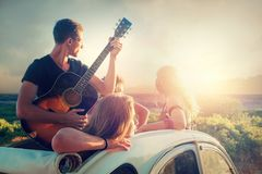 Happy group on vacations Stock Photography