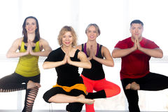 Group of happy people doing yoga training in class royalty free stock photos