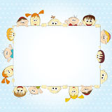 Group of happy people holding empty banner. Illustration Royalty Free Stock Photography