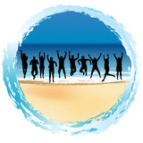 Group of happy people jumping at the seaside Royalty Free Stock Photos