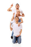 Group of happy people pointing up Stock Photos