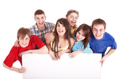 Group of happy people taking banner. stock images