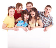 Group of happy people taking banner. royalty free stock photography
