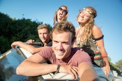 Friends on vacations Stock Images