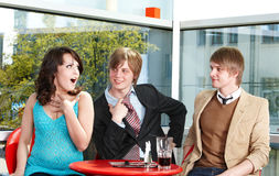 Group of happy people talking in cafe. Royalty Free Stock Photos