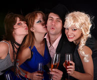 Group happy people with wine. Royalty Free Stock Images