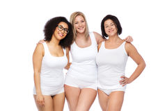 Group of happy plus size women in white underwear Royalty Free Stock Image