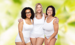 Group of happy plus size women in white underwear Royalty Free Stock Photos