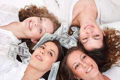 Group of happy pretty laughing girls Stock Photos