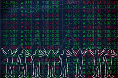 Group of happy and sad traders facing stock exchange data Stock Image