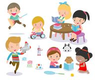 Group of happy school kids in classroom,children`s activity in the kindergarten, reading books, playing, education,Vector royalty free illustration