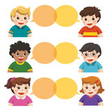 Group of happy smiling kids speaking together. Communication, teamwork, assistance and connection vector concept stock illustration