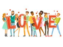 Group of happy smiling people holding the word Love cartoon colorful vector Illustration Royalty Free Stock Images
