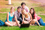 Group of happy smiling Teenage Students Stock Photos