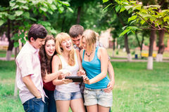 Group of happy smiling Teenage Students Stock Photo
