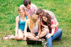 Group of happy smiling Teenage Students Outside College Royalty Free Stock Photography