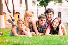 Group of happy smiling Teenage Students Outside Royalty Free Stock Photography