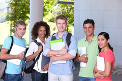Group of happy students. Group of happy confident students standing outside Stock Photography