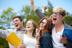 Group of happy students showing triumph gesture Stock Photography