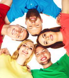 Group of happy students staying together. Royalty Free Stock Image