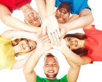 Group of happy students staying together. Royalty Free Stock Photography
