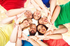 Group of happy students staying together. Education, university: Stock Photo