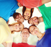 Group of smiling friends standing together. College, education, university: concept. royalty free stock images