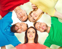 Group of smiling friends standing together. College, education, university: concept. royalty free stock photo