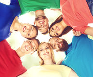 Group of happy students staying together. Education, university: Stock Images