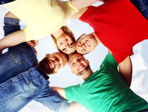 Group of smiling students standing together. School, college, university: concept. royalty free stock image
