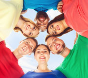 Group of smiling students standing together. School, college, university: concept. stock photo
