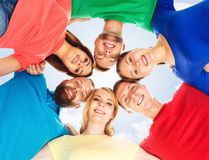 Group of happy students staying together. Education, university: Royalty Free Stock Photography
