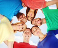 Group of happy students staying together. Education, university: Royalty Free Stock Images