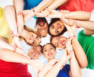 Group of happy students staying together. Education, university: Stock Photography