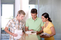 Group of happy students studying. In the library Stock Photos