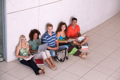 Group of happy students studying. In the corridors Stock Images