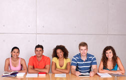 Group of happy students studying Royalty Free Stock Images