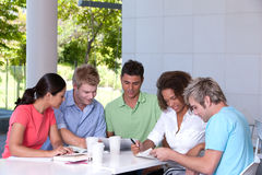 Group of happy students studying Stock Photo