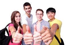 Group of happy students thumb up. Friend group of happy students thumb up isolated over a white background, caucasian and asian Stock Photos
