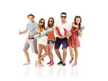 Group of happy students. Group of happy young teenager students standing and smiling Stock Photography