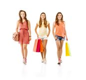 Group of happy students. Group of happy young teenager students women standing and smiling with shopping bags isolated on white background Royalty Free Stock Photos